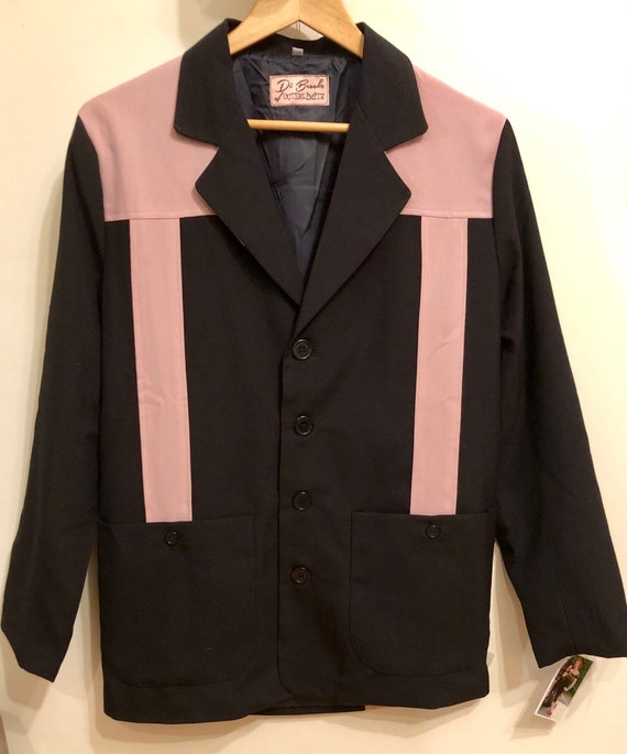 1950s Men's Clothing Vintage 1950s style lightweight pink and black Hollywood resort jacket $138.82 AT vintagedancer.com