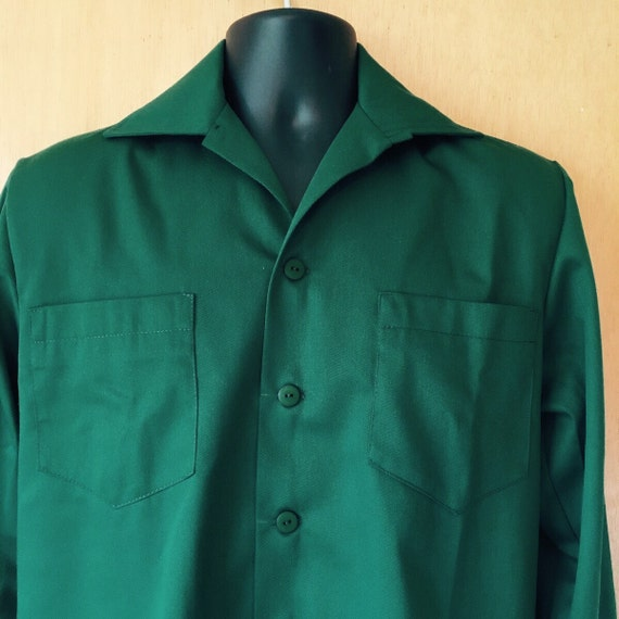 Vintage Shirts – Mens – Retro Shirts Vintage 1950s inspired repro mans long sleeve shirt green deadstock habardine Sizes S M L rockabilly VLV $92.54 AT vintagedancer.com