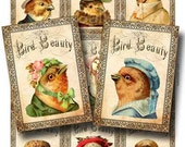 Victorian Bird Beauty Digital Collage Sheet Instant Download Paper Crafts Card Decoupage Original Whimsical Altered Art by GalleryCat CS67