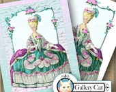Instant Download MARIE ANTOINETTE Digital Collage Sheet Two Large Images Wall Art Iron on Transfer T Shirts Pillows Tote Bag GalleryCat 311