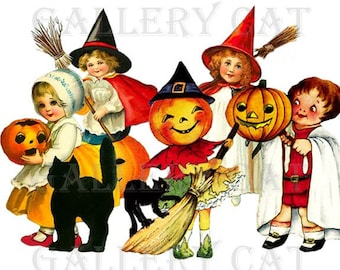 HALLOWEEN SCRAPS Digital Collage Sheet Instant Download Ornament Paper Crafts Original Whimsical Altered Art by Gallery Cat CS113