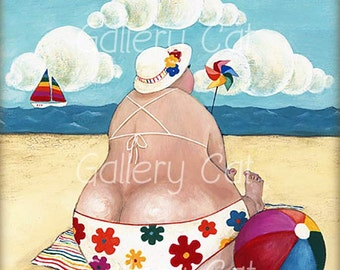 HALF MOON Bay I Digital Collage Sheet Instant Download for Coasters Cards Scrapbooking Retro Beach from Original Painting GalleryCat CS208