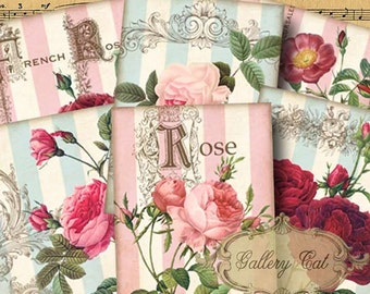 COTTAGE GARDEN Digital Collage Sheet Printable Gift Tags Scrapbook Cards Jewelry Holders Paper Crafts GalleryCat CS206