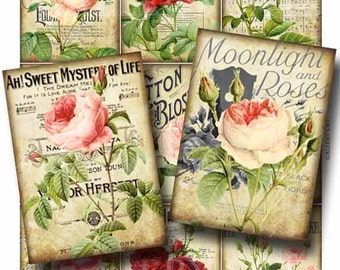 Roses and Romance  Digital Collage Sheet Instant Download for Paper Crafts Cards Tags Original Whimsical Altered Art by Gallery Cat CS77