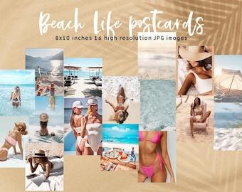Beach Life Summer Digital Postcard set- Wall Collage Kit, summer digitals,Printable Room Decor INSTANT DOWNLOAD