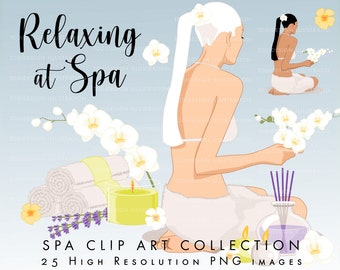 Relaxing at SPA Body Care Clip art Colelction  - high quality Digital clip arts, relax, body treatments,  INSTANT DOWNLOAD