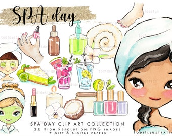 SPA Day Scrapbook Clip art  - high quality hand drawn clip arts, relax, spring, Spa girl INSTANT DOWNLOAD