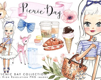 Picnic Day Scrapbook Clip art  - high quality hand designed, watercolor clip arts, picnic, spring, Easter girl, INSTANT DOWNLOAD