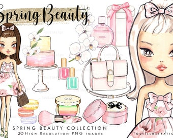 Spring Beauty Fashion Scrapbook Clip art  - high quality hand drawn clip arts, Fashion, spring digitals, INSTANT DOWNLOAD