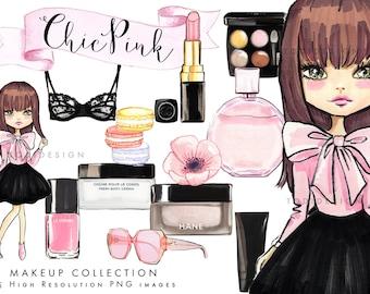 Make Up Scrapbook Clip arts - Hand drawn designs, Planner clipart,  Chic Pink planner stickers , INSTANT DOWNLOAD