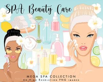 SPA Beauty Care Mega Clip art Colelction  - high quality Digital clip arts, relax, face masks, Home Spa INSTANT DOWNLOAD