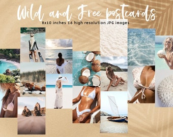 Wild and Free Summer Digital Postcard set- Wall Collage Kit, summer digitals,Printable Room Decor INSTANT DOWNLOAD