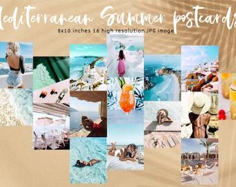 Mediterranean Summer Digital Postcard set- Wall Collage Kit, summer digitals,Printable Room Decor INSTANT DOWNLOAD