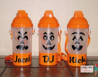 personalized halloween jack o lantern water bottle with snack cup sippy cup with straw water bottle with snack cup halloween water bottle