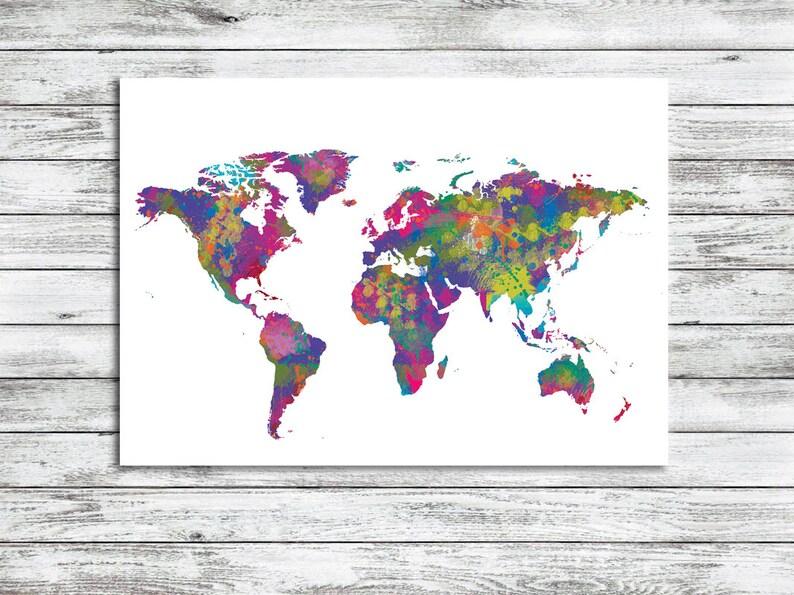Costa Rica Karte Zum Ausdrucken.Welt Karte Aquarell Weltkarte Zum Ausdrucken Welt Karte Sofort Download Druckbare Art Kinder Dekor Worldmap Art Digitale Kunst Abstrakte