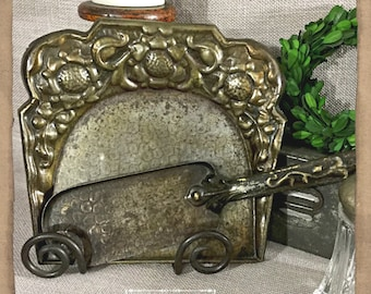 Antique Crumber Set in Gorgeous, Embossed Metal
