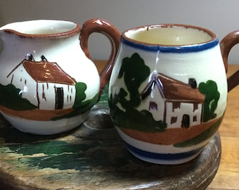 Pair of Miniature Pitchers -Torquay Motto Ware, Cottage Pattern