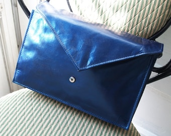 Vintage Envelope Handbag - Upcycled with Luminescent Blue Color