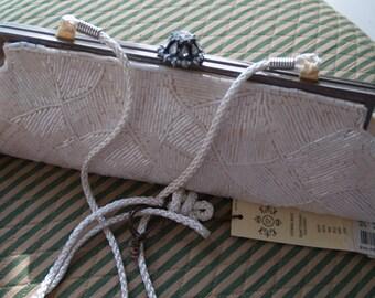 SALE!!!  Kate Landry Beaded Ivory Evening Bag with shoulder strap