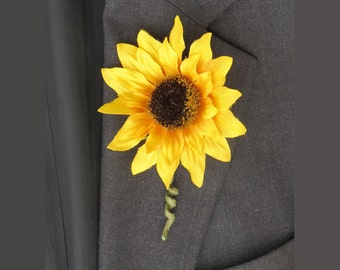 Sunflower Boutonniere Made to Order Yellow Wedding Flowers