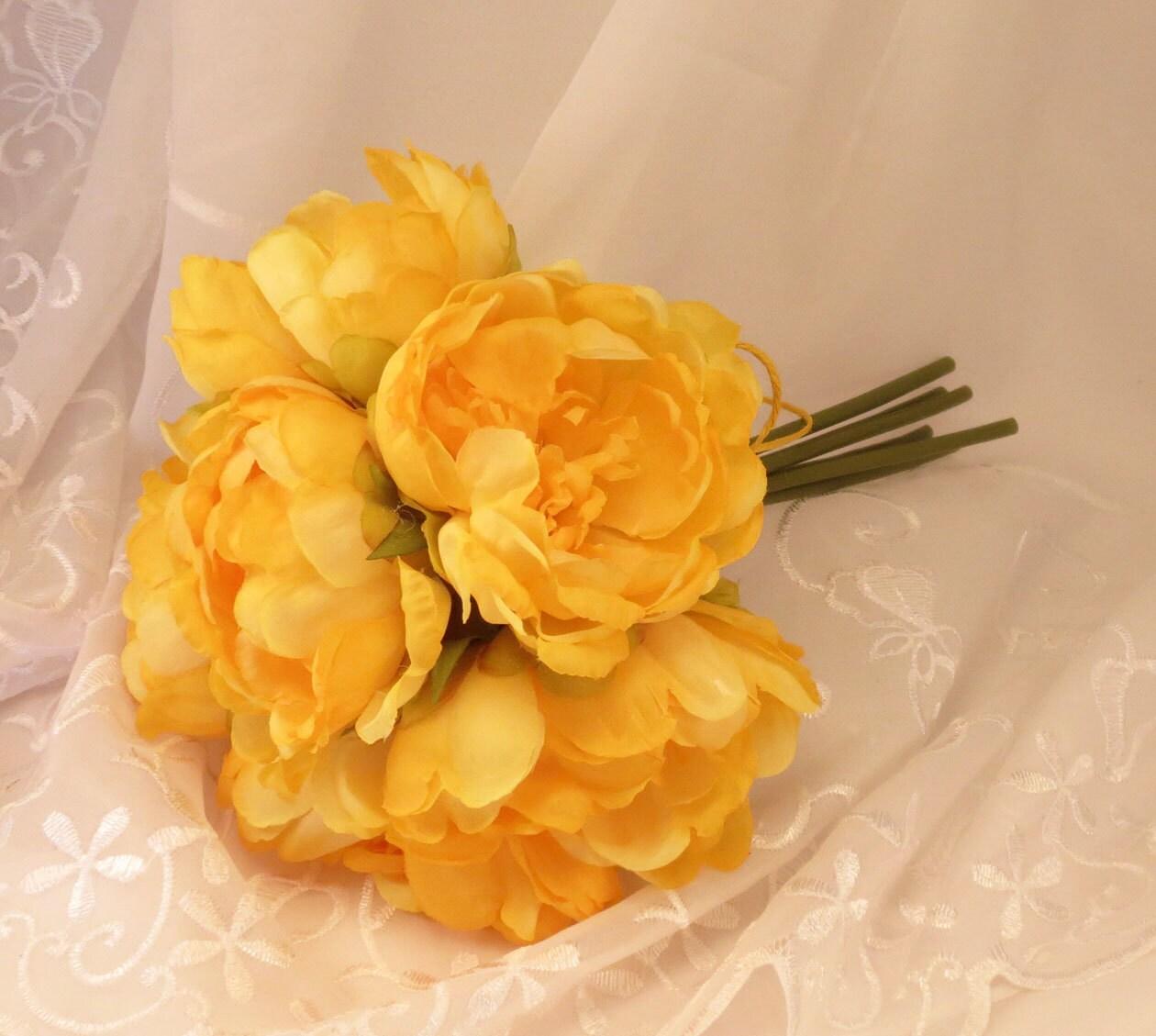 Peonies Yellow Peonies Peony Bouquet 6 Flowers On Stems Etsy