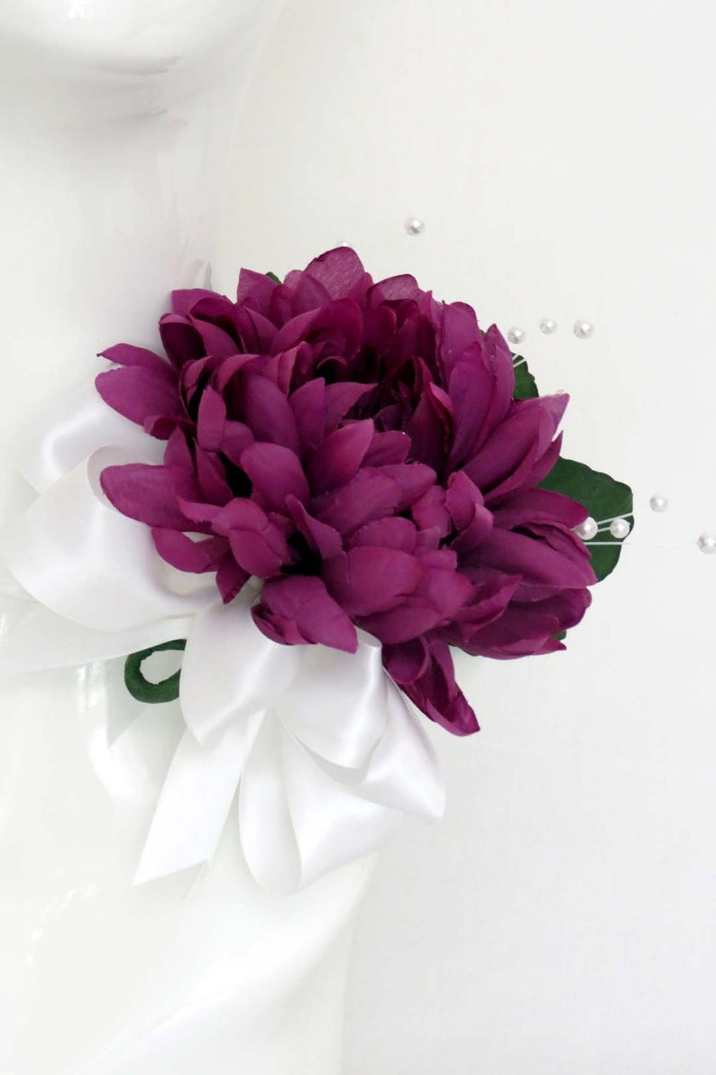 Mum with Pearls and Satin Ribbon Purple Mum Corsage Shoulder Corsage Red Violet Flower Corsage Large Corsage On Hand and Custom