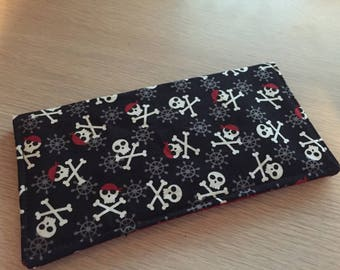 Checkbook Cover Cloth Pirate Themed  Skulls and Crossbones Print