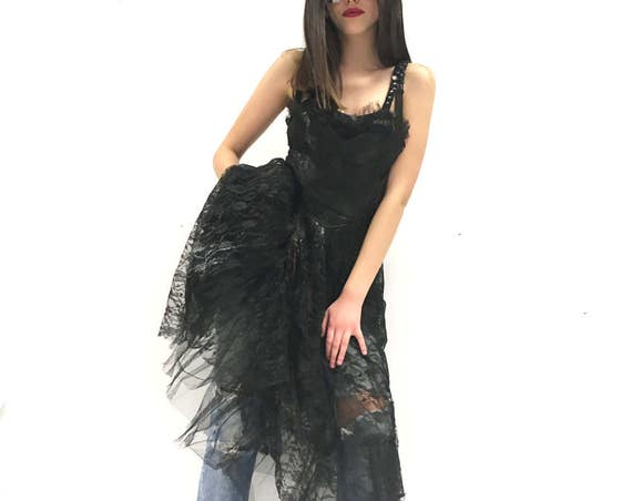 Destroied LOLA DARLING Black Lace Dress