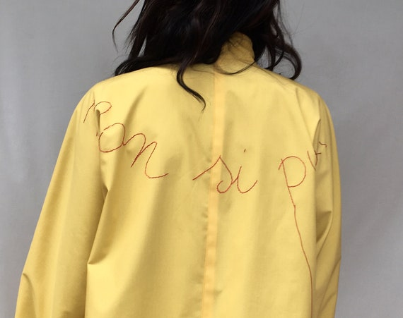 ReversibleTrench Coat Printed Hand Embroidered Raincoat Yellow Gray LOLA DARLING Jacket Unique Handmade in Italy Vintage 80s artisanal made