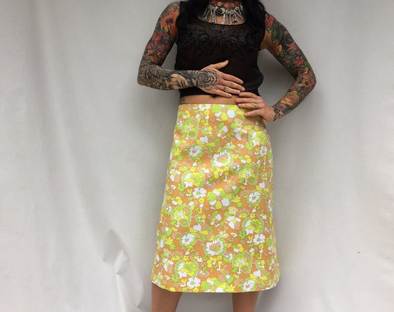 Neon Lime Skirt LOLA DARLING Green Yellow Neon floral fabric Colored Flowers Printed Skirt A Style Cotton Fabric Unique Italian Hand made