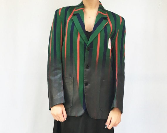 Regimental Blazer. Striped Green Blue Red Jacket. Bottom Laminated Black Hand Painted.  LOLA DARLING clothing. Selected Vintage Recycle