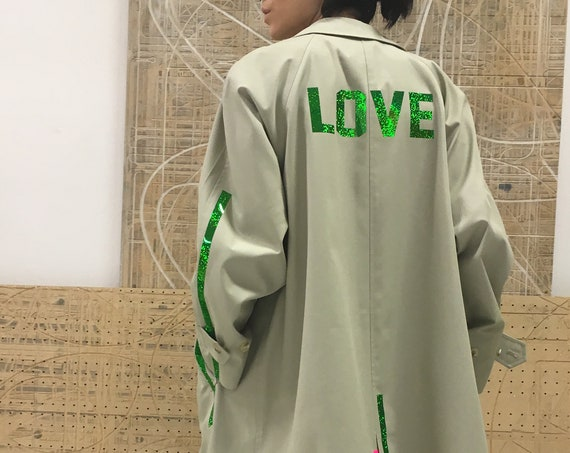 80's Green Beige Trench coat LOLADARLING Recycled Limited Edition Vintage Recovered Printed LOVE Lola Numbers Stripes Glitter One-of-a-kind