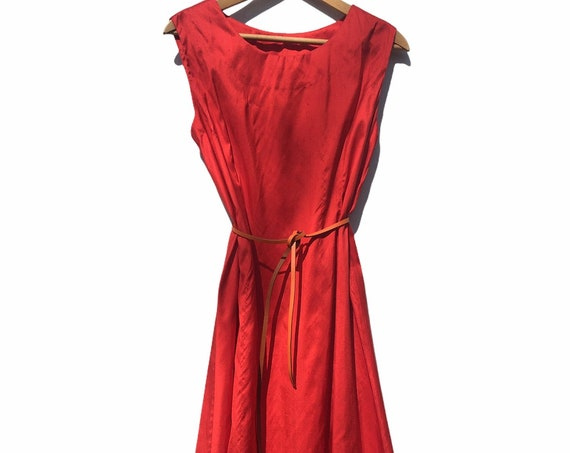 Recycled Silk fabric Red Tunic Dress