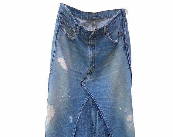 Denim upcycled long distressed skirt