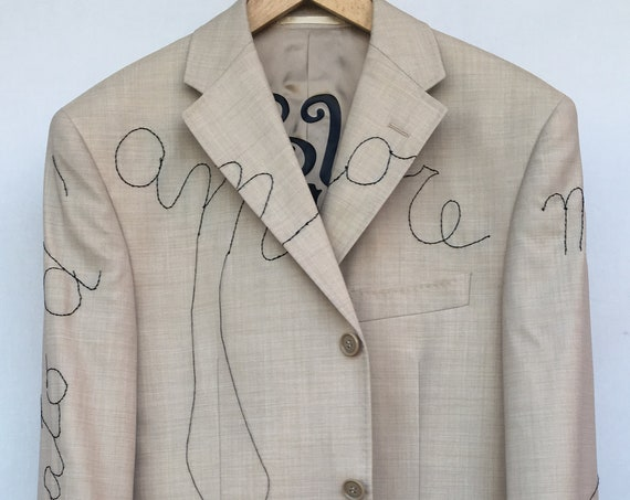 "White Formal Blazers Hand Embroidered LOLADARLING Suite Jacket Italian Lyric Song ""SEI BELLISSIMA"" (1975) Italian Couture Extrafine Merinos"