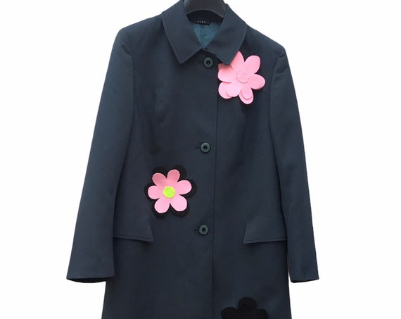 Deep Blue Spring Overcoat Trench Coat Jacket with flowers