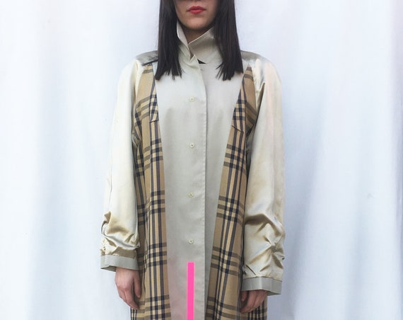 Printed Unisex Beige Classic Trench Coat LOLA Overcoat Reversible Checkered Satin