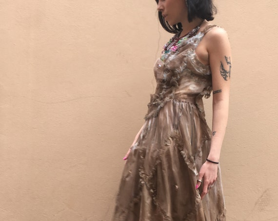 Faded Brown color LOLA DARLING Long Dress Chiffon Hand Painted Embroidery Chains and Corals Sartorial Care Hand made in Italy One of a Kind