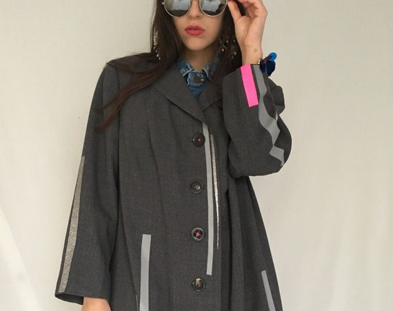 Woman's Wool Italian Gray Coat LOLA DARLING Print Plastic Colored Glitter Stripes Jacket Wearable Art Capsule 2019 Hand Made from Vintage
