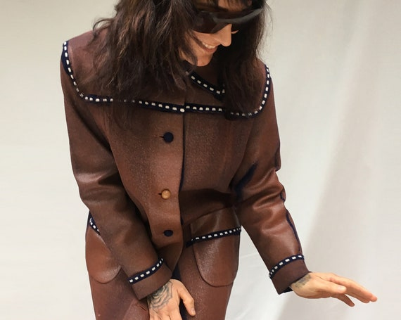 Knitted Hand Painted Coat LOLADARLING Wool Brick Red Jacket White Stitching, Leather Effect Overcoat Sustainable Vintage Reused Wearable Art