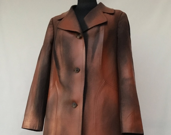 Hand Painted Spring Wool Duster Coat LOLA DARLING Rubberized Glossy Treatment as Leather Effect Unique Wearable Art from 70s New Overcoat
