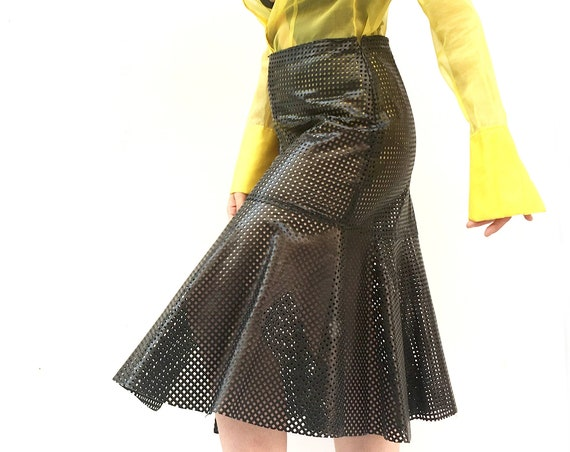 Mesh Black Leather Skirt LOLA DARLING  Longuette with Ruffle with Slit Sartorial Hand made in Italy Unique