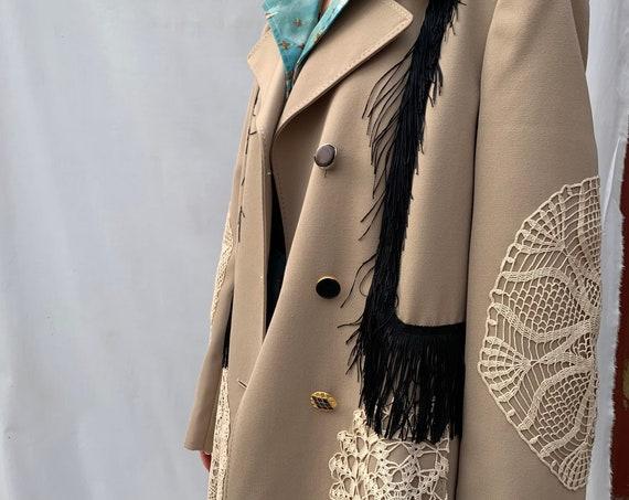 crocket & fringe beige trench coat