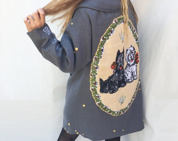 Yorkshire Dogs Printed Canvas Embroidered Gray Coat LOLADARLING from 60s Vintage Inventory Studs Unique Hand Made Haute Contemporary Couture