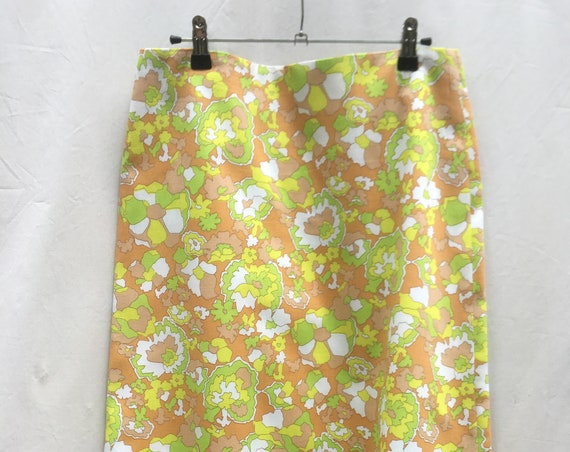 Neon Yellow Green Floral Skirt LOLA DARLING by Vintage Fabric