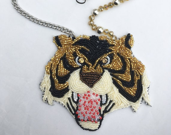 "Unique Handmade Necklace DAW / LOLA DARLING Hand Embroidery ""Tiger Man 2"" 80s Cartoons Bijoux Special Edition Made in Italy One of a Kind"