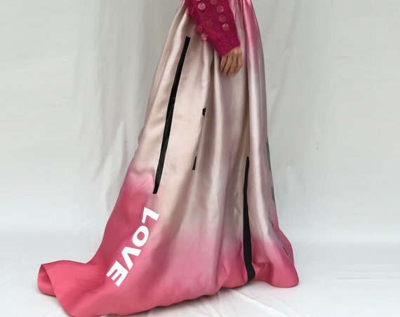 Train Pink Organza Hand Painted Long Dress LOLA DARLING Silk Satin Love Lola Stripes Printed Sartorial Wedding Met Gala Party Dress Unique