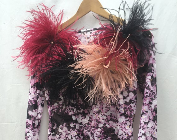 Feather Fireworks Flower Stretch Tulle LOLA DARLING Long Sleeve Top Blouse. NEW Collection 20