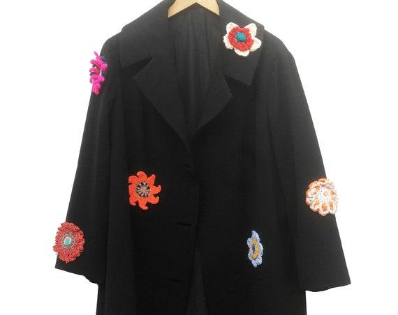 Crochet Flowers Spring Black LOLA Trench Coat