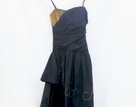 Black Silk Taffeta LOLA DARLING Long Dress. Yellow Embroidered. Recycled Plastic Net Applied